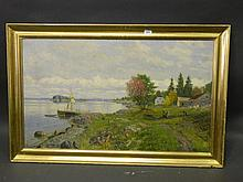 Hansteen, a C19th oil on canvas, coastal scene