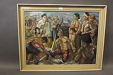 A large oil on canvas, Indonesian harbour scene