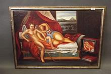 A C20th oil on canvas, Cupid and Venus, image 36