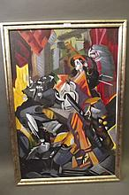 A C20th oil on canvas, abstract figure playing a