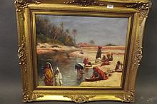 An oil on canvas, Oasis scene with Berber woman
