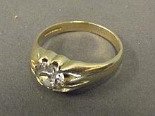 An 18ct gold single diamond 1.9ct gentleman's