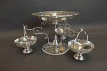 A large silver plated centrepiece with three