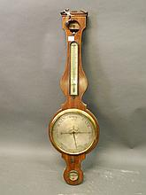 A C19th inlaid mahogany glass wall barometer, 41