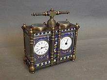 A brass double carriage clock with cloisonné