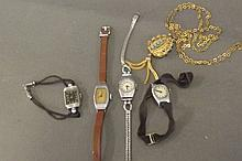 A small collection of women's wristwatches and a