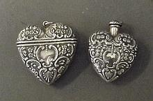 A Continental silver heart shaped snuff box and