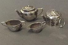 A Continental silver miniature tea set, and a tea