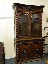 A good quality C19th carved oak library bookcase