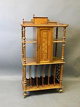 A Victorian walnut Canterbury/cabinet with
