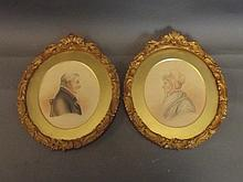 A pair of oval miniatures, studies of a man and