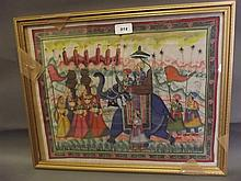 An Indian painting on silk, procession with