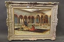 A large oil on canvas, Moorish harem scene, signed