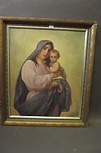A C19th oil on canvas, Madonna and child, signed