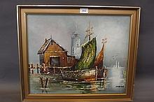 An oil on canvas, fishing boats, signed Malek,