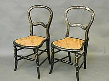 A pair of Victorian papier-mâché bedroom chairs