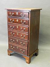 A C19th mahogany chest of seven long drawers, 21