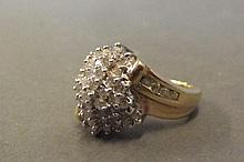A 10ct gold diamond cluster ring, size Q