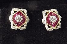 A pair of Art Deco style 18ct gold, ruby and