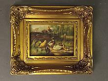 An oil on board, chickens and ducks by a stream,