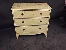 A Regency painted chest of 3 long drawers on swept