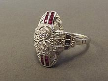 A 9ct white gold, ruby and diamond Art Deco style
