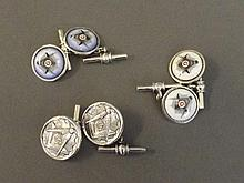 Three pairs of Continental silver cufflinks each