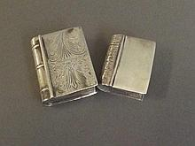 Two Continental silver snuff boxes in the form of