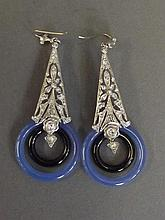 A pair of 9ct gold and silver, blue agate and onyx