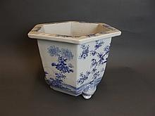 A large C19th Oriental blue and white hexagonal