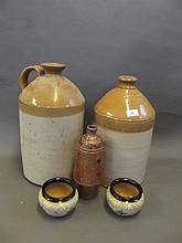 Two large stoneware cider jars, a pair of Lovatt