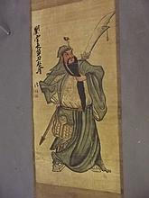 A Chinese painted scroll depicting a warrior, 25