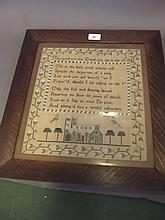 A C19th sampler decorated with a verse, above a