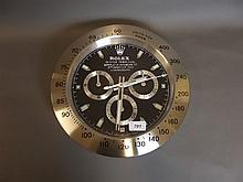 A Rolex style wall clock, 13¼