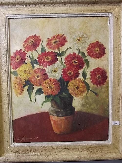 Isa Janssens, oil on canvas still life of flowers