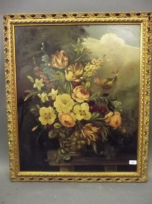 E. Sanderman, oil on board still life of a vase of