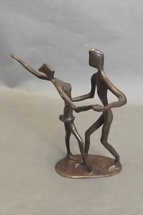 A 1920s style bronze model of 2 dancers, 8¼'' high