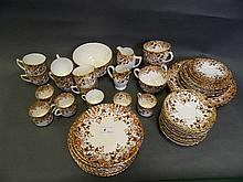 A C19th pottery Derby style tea service with
