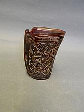 A Chinese horn cup with carved bats to side, 3¾''