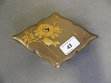 A C19th Japanese shaped lacquer box decorated with