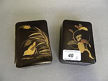 A pair of C19th Japanese lacquer boxes decorated
