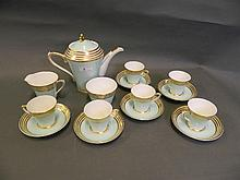 A Gray's Art Deco coffee service with gilt banding