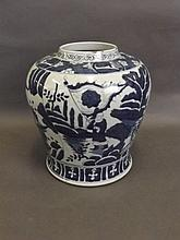 A large Chinese blue and white porcelain jar with