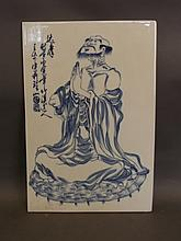 A Chinese blue and white porcelain plaque with pai
