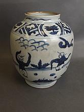 A Chinese blue and white porcelain jar decorated w