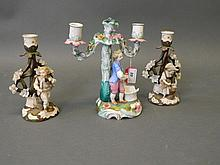 A Bohemian porcelain two branch candelabrum in the