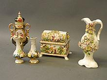 A Capodimonte porcelain casket and pair of vases,