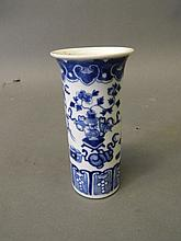 A C19th Chinese blue and white porcelain brush pot