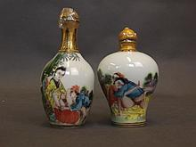 Two small Chinese porcelain scent bottles decorate