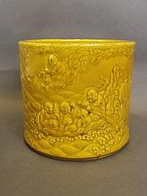 A Chinese mustard yellow ground porcelain brushpot